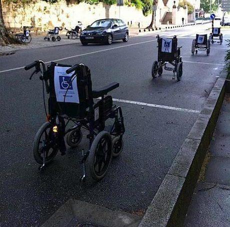 wraak op de gehandicaptenparkeerplaats in Lissabon